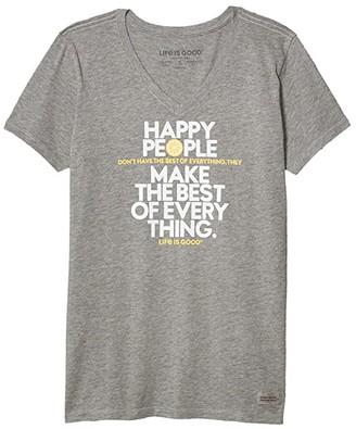 Life is Good Happy People Crusher Vee (Heather Gray) Women's Clothing