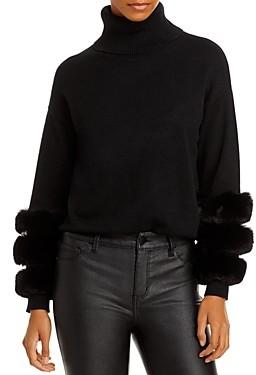 Aqua Faux Fur Sleeve Sweater - 100% Exclusive