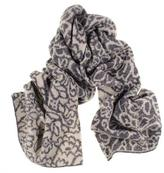 Black Grey and Ivory Floral Reversible Cashmere Knit Scarf