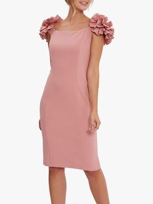 Gina Bacconi Bretta Ruffle Detail Crepe Jersey Dress, Winter Pink