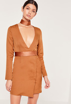 Missguided Choker Neck Tie Waist Wrap Dress Camel