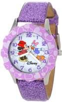 "Disney Kids' W000916 ""Tween Minnie Glitz"" Stainless Steel Watch with Purple Glitter Band"