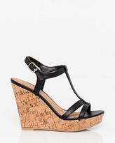Le Château Leather-Like T-Strap Wedge Sandal