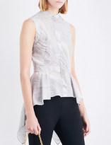Alexander McQueen Asymmetric peplum silk-crepe top