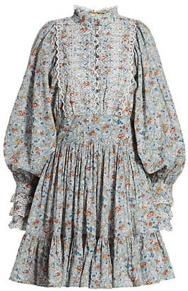 By Ti Mo Floral Lace Eyelet Puff-Sleeve Mini A-Line Dress