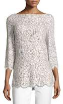 Michael Kors Embellished Lace 3/4-Sleeve Tunic Top, White