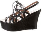 Alaia Embossed Lace-Up Wedges