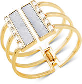 GUESS Gold-Tone Crystal & White Faux Leather Hinged Cuff Bracelet