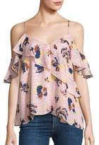 Peserico Abstract Floral Chiara Cold Shoulder Top