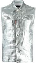 DSQUARED2 metallic sleeveless denim jacket - men - Cotton/Elastodiene - 48