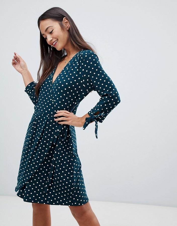 Qed London polka dot wrap dress with tie sleeve
