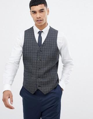Asos Design DESIGN slim suit vest in charcoal wool mix with pocket details-Gray