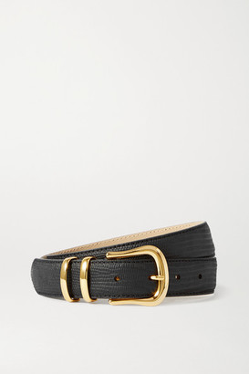 Black & Brown + Net Sustain Marina Lizard-effect Leather Waist Belt - 65