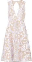 Lela Rose Open-back Fil Coupé Dress - Ivory