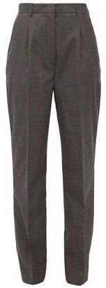 Prada Prince Of Wales-check Wool Trousers - Grey Multi