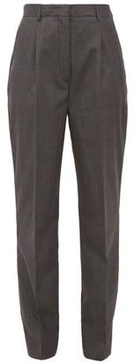 Prada Prince Of Wales-check Wool Trousers - Womens - Grey Multi