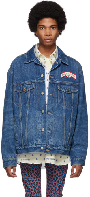 Gucci Blue Denim Patches Oversized Jacket