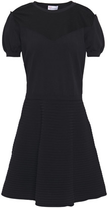 RED Valentino Point D'esprit-paneled Ribbed And Stretch-knit Mini Dress