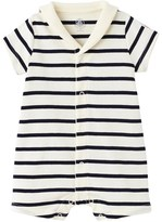 Petit Bateau Baby striped open collar romper