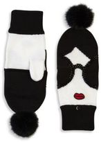 Alice + Olivia Stace Face Fur Pom-Pom Convertible Mittens