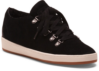 Water Repellant Cozy Lined Suede Low Wedge Sneakers
