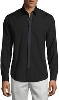 Theory Sullivan Wealth Contrast-Placket Sport Shirt, Black