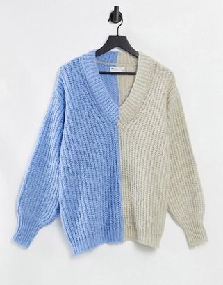 ASOS DESIGN v neck sweater in color block