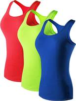 Neleus Women's 3 Pack Compression Athletic Tank Top for Yoga Running,Black,Blue,White,XL