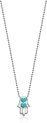 Alex Woo Women's Little Faith Hamsa Hand with Turquoise Enamel Pendant Necklace Size: 16