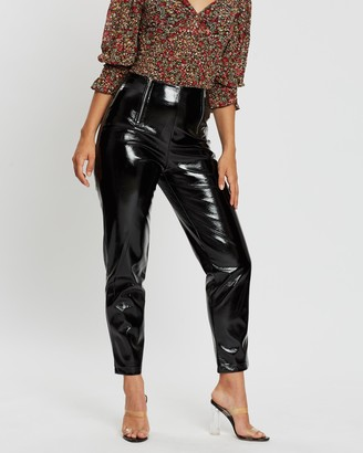 Missguided Faux Leather High Shine Zip Trousers