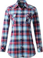 Benibos Women's Mid-Long Style Roll-Up Sleeve Plaid Flannel Shirt (US,)