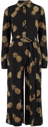 Sugarhill Brighton Sienna Pineapple Batik Wide Leg Jumpsuit Black