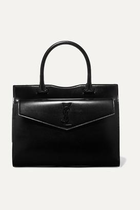 Saint Laurent Uptown Medium Glossed-leather Tote - Black
