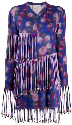 Frankie Morello Fringed V-Neck Mini Dress