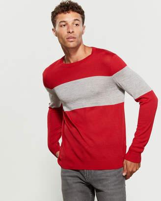 Calvin Klein Wool-Blend Chest Stripe Sweater