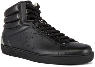 Gucci New Ace High Top Sneaker in Black & Grey | FWRD