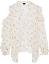 Magda Butrym - Lecce Cutout Ruffled Floral-print Silk-georgette Blouse - Cream