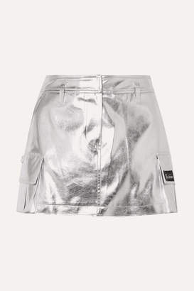 we11done Appliqued Metallic Faux Leather Mini Skirt - Silver