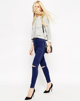 Asos Rivington High Waist Ankle Grazer Jeggings in Tyne Blue with Displaced Ripped Knees