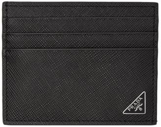 Prada Black Saffiano Triangle Card Holder