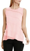 Vince Camuto Asymmetrical Tiered Mixed Media Top (Regular & Petite)