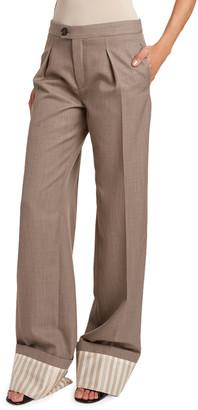 Chloé Fine Wool Twill Pants w/ Striped Cuffs