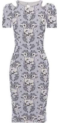 Zac Posen Cutout Cotton-blend Floral-jacquard Dress