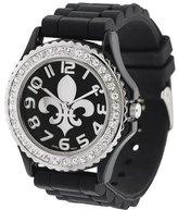 Silver Bin SilverBin GP 6886 Designs Women's Rhinestone Fleur De Lis Silicone Watch