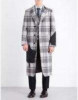 Thom Browne Single-breasted Check-print Wool Coat