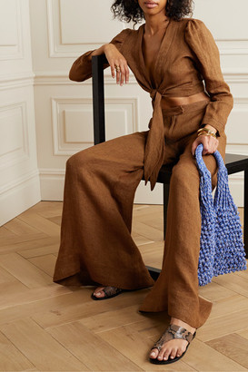 Lisa Marie Fernandez Net Sustain Pouf Tie-front Linen Top - Brown