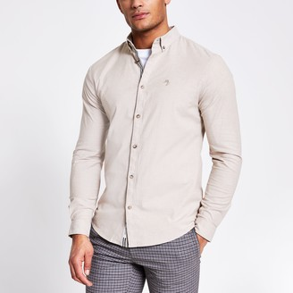 River Island Mens Maison Riviera Beige slim fit Oxford shirt
