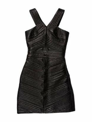 Balmain V-Neck Mini Dress Black