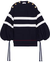 Sonia Rykiel Oversized Button-detailed Striped Knitted Sweater - Midnight blue