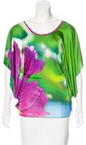 Roberto Cavalli Printed Draped Top w/ Tags